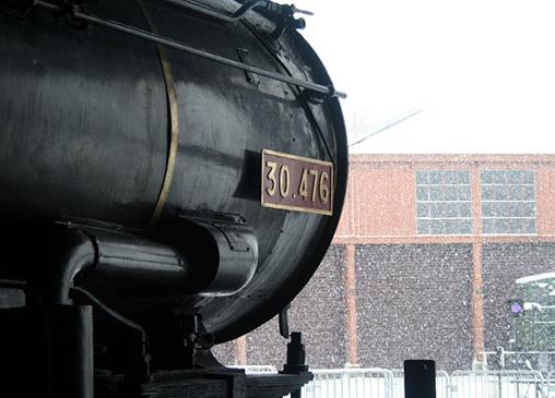 locomotive à vapeur et neige à Longueville Photo P.Berger