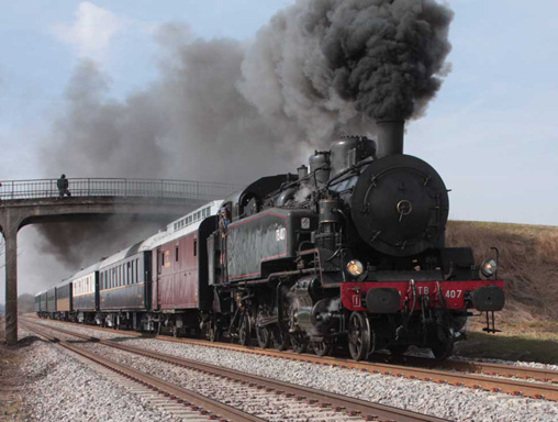 locomotive à vapeur 141TB407 Marche d'essai 17 Mars 2010